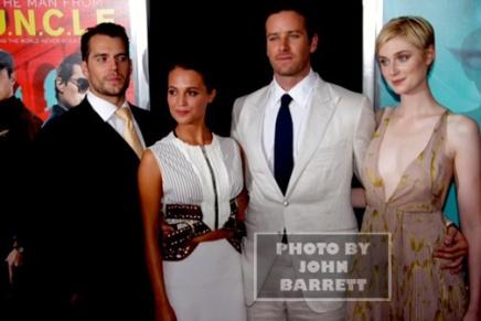 HENRY HAMMER,ALICA VICANDER,ARMIE HAMMER,ELIZABETH DEBICKI, at Premiere of ''The Man from U.N.C.LE.'' at Ziegfeld Theatre 8-10-2015 John Barrett/Globe Photos 2015